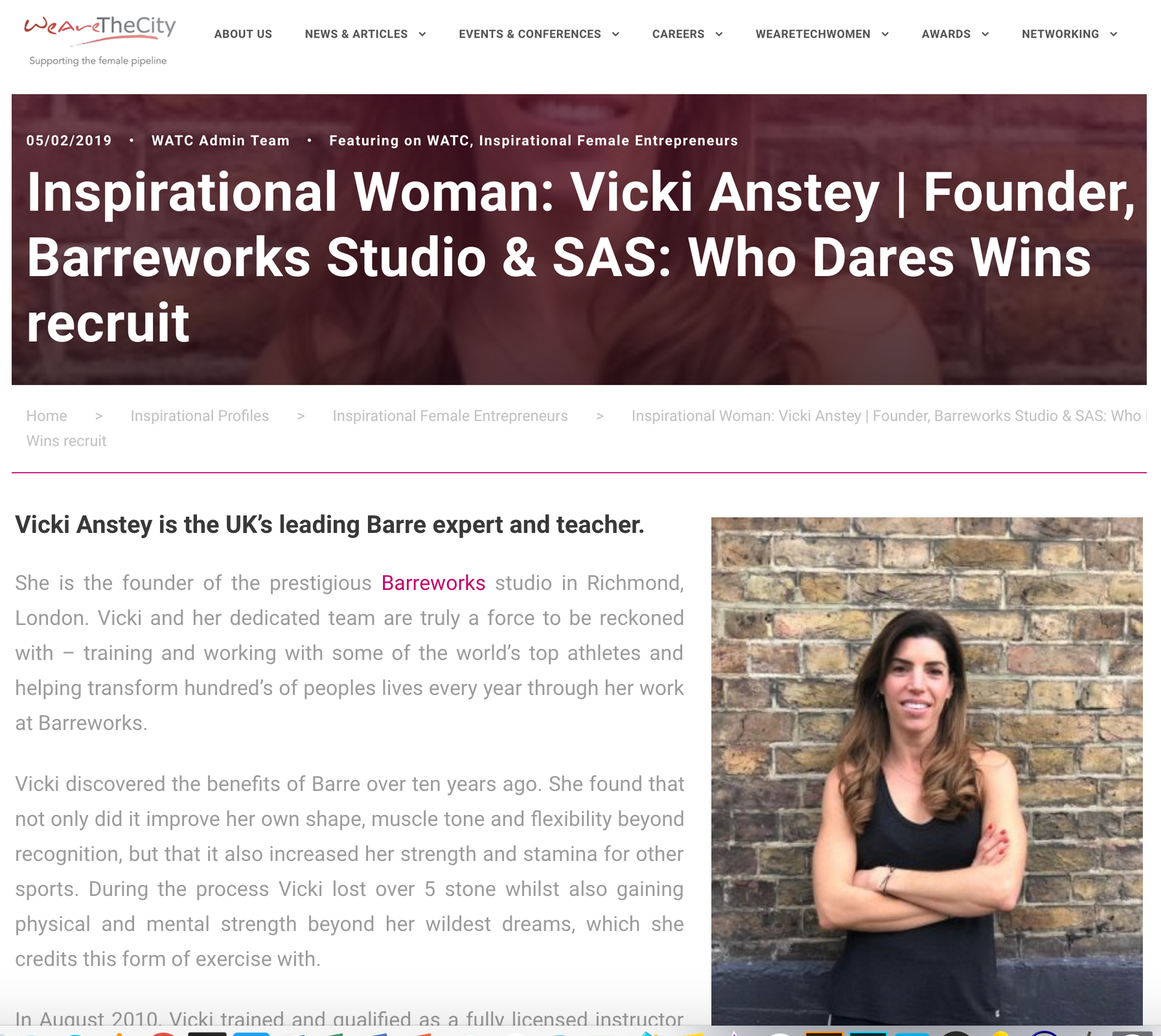 Inspirational Woman: Vicki Anstey | Founder, Barreworks Studio & SAS: Who Dares Wins recruit